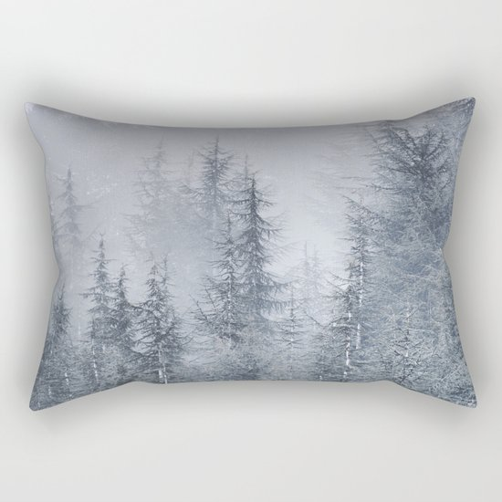 Early moorning... Into the foggy woods Rectangular Pillow