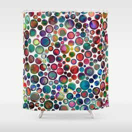 Dots on Painted Background 2 Shower Curtain