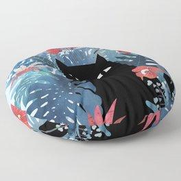 Popoki in Blue Floor Pillow