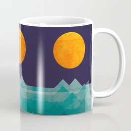 The ocean, the sea, the wave - night scene Coffee Mug