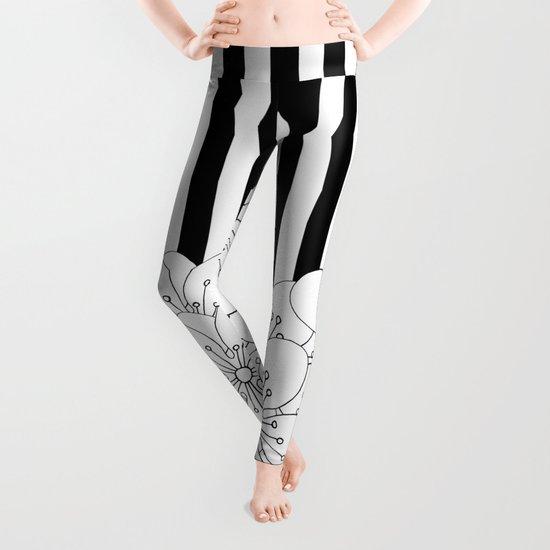 Cherry Blossom Stripes - In Memory of Mackenzie Leggings