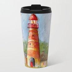 Red Lighthouse Metal Travel Mug