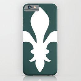 Fleur de Lis (White & Dark Green) iPhone Case