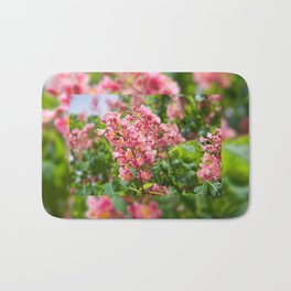Aesculus red blossom cluster Bath Mat