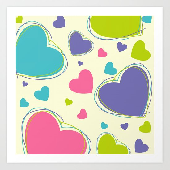 Cute Playful Hearts Pattern Art Print