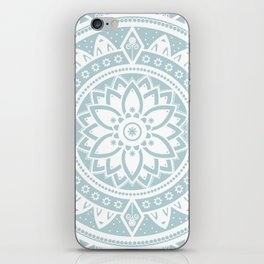 Duck Egg Blue & White Patterned Flower Mandala iPhone Skin
