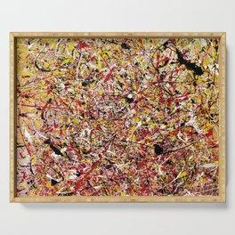 TENDER SUN - Jackosn Pollock style drip painting art design, dripping design, splash patern modern art Serving Tray