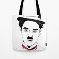 charlie chaplin Tote Bags featuring Charlie Chaplin by ArpanDholi