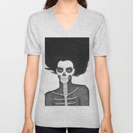 Black and White Galaxy Skull Girl Unisex V-Neck