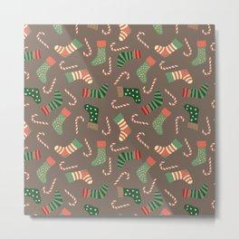 Modern pastel green coral Christmas socks candy Metal Print