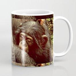 Baby Chimpanzee Cuddling Close to Mom with Vintage Look Coffee Mug