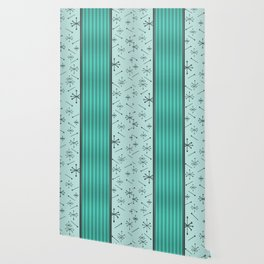 Mid Century Stripes & Starbursts (Turquoise) Wallpaper