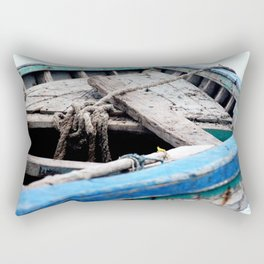 Rustic Wooden Turquoise Boat Rectangular Pillow