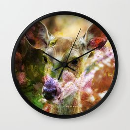 Fawn Peeking Through The Lilac Bushes By Annie Zeno Wall Clock