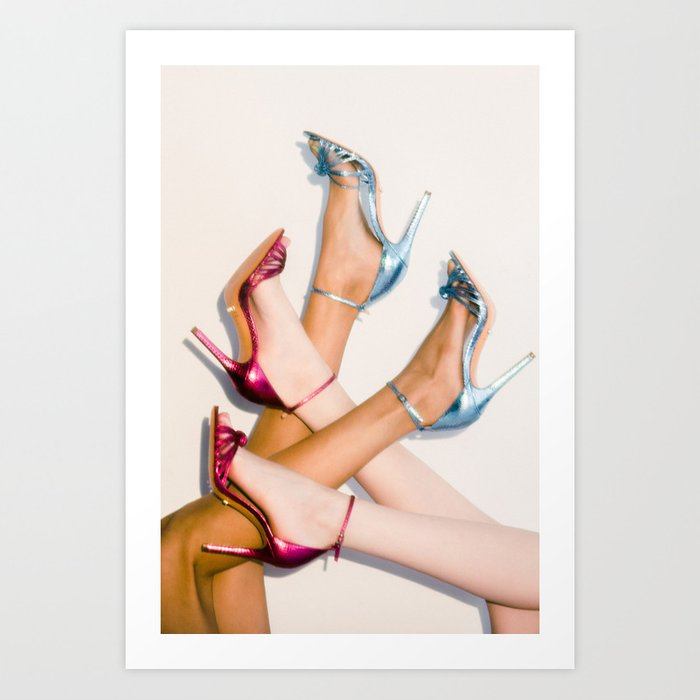 Blue and Pink Heels Art Print