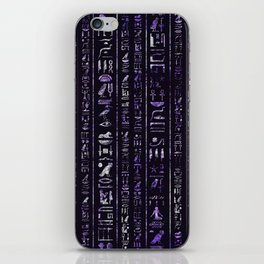 Amethyst and Silver Egyptian hieroglyphics pattern iPhone Skin