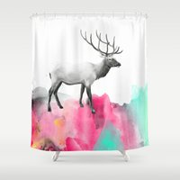 elk Shower Curtains featuring Wild No. 2 // Elk by Amy Hamilton