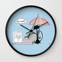 kitty Wall Clocks featuring Kitty by MyimagesArt