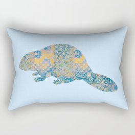 Beaver Vintage Floral Pattern Rustic Country Shabby Chic Blue Yellow Orange Grey Rectangular Pillow