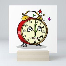 Traditional Alarm Clock Waking Up Cartoon Mini Art Print