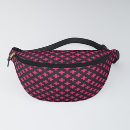 Small Hot Neon Pink Crosses on Black Fanny Pack
