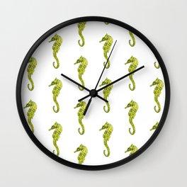 Watercolor Seahorses Pattern Wall Clock