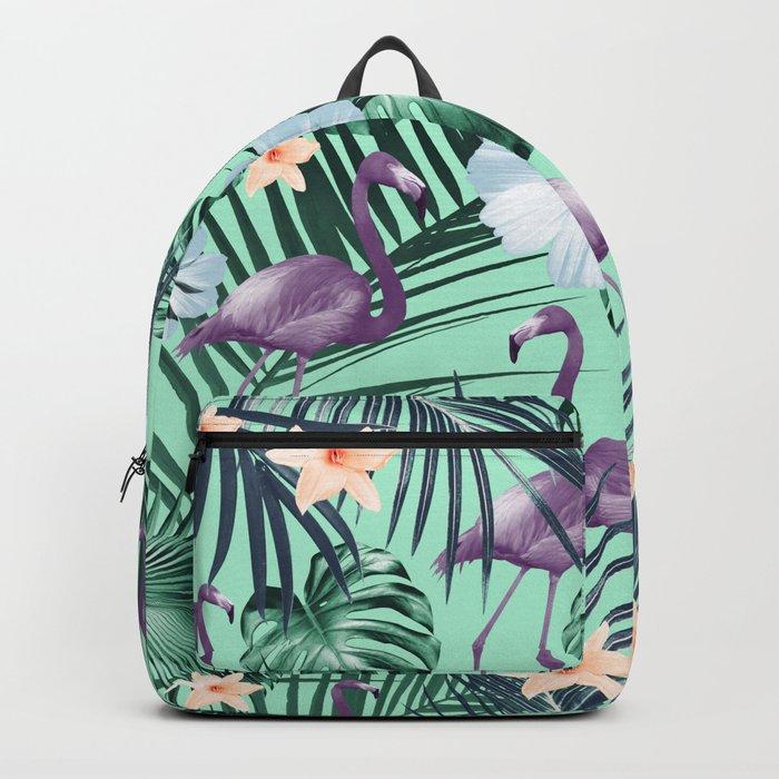 Tropical Flamingo Flower Jungle #5 #tropical #decor #art #society6 Backpack