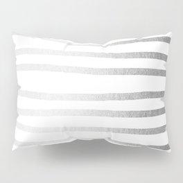 Simply Drawn Stripes Moonlight Silver Pillow Sham