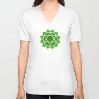 chakra V-neck T-shirts featuring Heart Chakra by cosmicsenpai