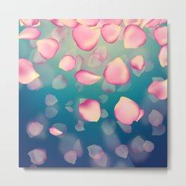 Falling Gentle Rose petals on Blue Metal Print