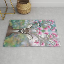 white tailed deer, black throated blue warblers, & magnolia blossoms Rug