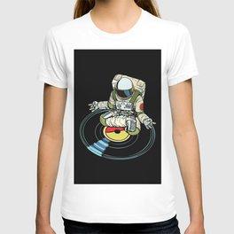 DJ Astronaut Yoga Black T-shirt