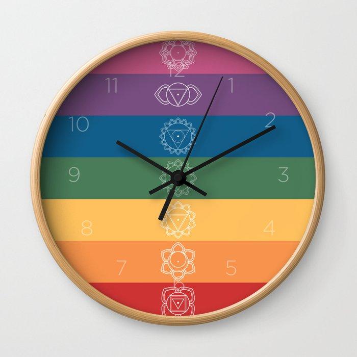 Seven Chakra Mandalas on a Striped Rainbow Color Background Wall Clock