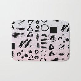 Blush pink gray black paint brushstrokes shapes gradient Bath Mat