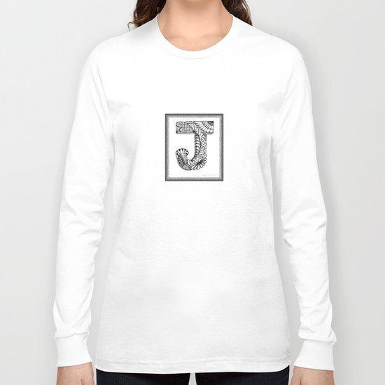 Zentangle J Monogram Alphabet Illustration Long Sleeve T-shirt