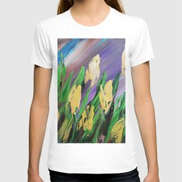 Tuips Palette knife painting floral art green yellow blue by Ksavera T-shirt