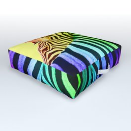 rainbow Colored Zebras Illustration - yellow Outdoor Floor Cushion