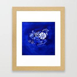 Delft Floral Framed Art Print