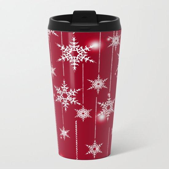 Bright Christmas background. Metal Travel Mug
