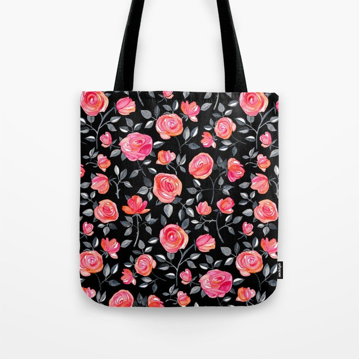 Roses on Black - a watercolor floral pattern Tote Bag
