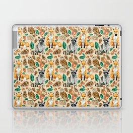 Woodland Creatures Illustrated Watercolor Pattern Laptop & iPad Skin