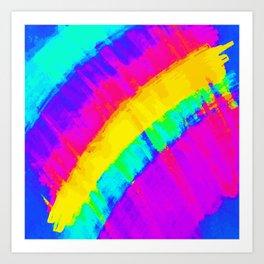 Bright Colorful Abstract Brushstroke Rainbow Art Print