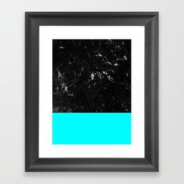 Aqua Blue Meets Black Marble #1 #decor #art #society6 Framed Art Print