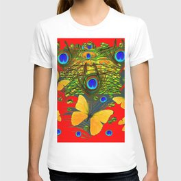 GREEN PEACOCK FEATHERS YELLOW BUTTERFLIES ON  RED ART T-shirt