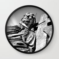 christ Wall Clocks featuring Christ statue by Vorona Photography