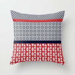 Japanese Style Ethnic Quilt Blue and Red Throw Pillow