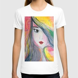 Pretty Girl. Yellow Pink and Green Girl Painting by Jodi Tomer. Figurative Abstract Pop Art. T-shirt