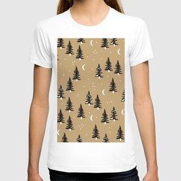 Christmas universe pine tree forest night Stars Moon Ginger T-shirt