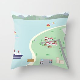 Paper Village Throw Pillow
