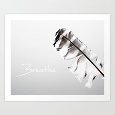 Breathe Inspirational Typography Graphic Design Feather Air Light and airy, Grey, gray  Art Print